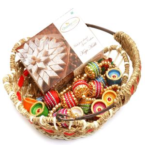 Hampers - Jute Cane Basket With Kaju Katli, Toran And Diyas