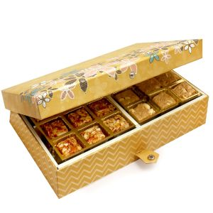 Diwali Gifts Diwali Hampers Gold 4 Print 12 PCs Roasted Almond And 12 PCs Granula Bites Box