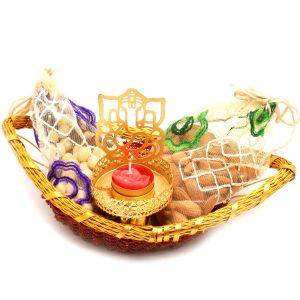 Diwali Hampers - Boat Basket With Almonds, Nutties Pouches And Ganesha T- Lite