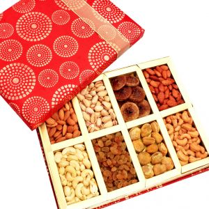 Food, Beverages - Dryfruits - Satin 8 part Dryfruit Box