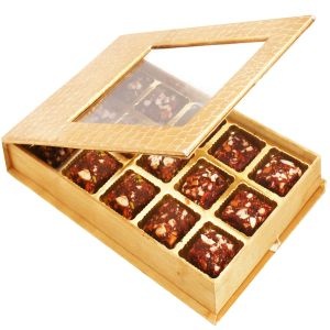 Healthy Hampers - Golden Leather Finish 15 PCs Sugarfree Dates And Figs Bites Box