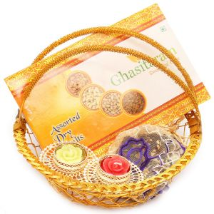 Diwali Hampers - Golden Metal Basket With Dryfruit Box, Brittles Pouches And 2 T-lites