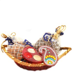 Diwali Hampers - Boat Basket With Almonds, English Brittle Chocolates And Roli Chawal Container