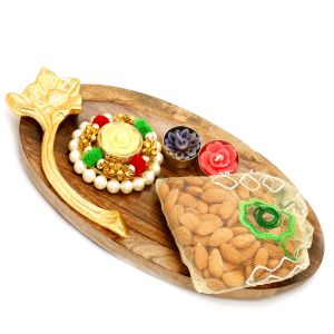 Dryfruits Hampers - Wooden Platter With Pearl T-lite And Almonds Pouch