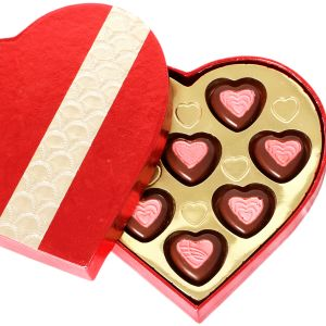 Chocolate-red And Gold Heart Chocolate Box