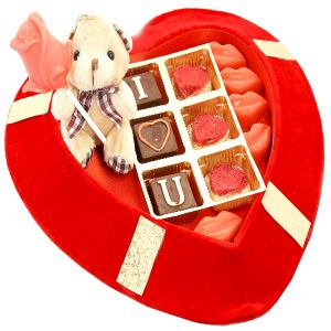Chocolates-heart Tray With Chocolates