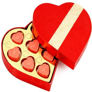 Chocolate-red And Gold Strawberry Heart Chocolate Box