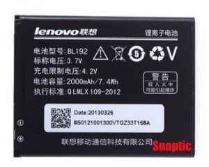 Lenovo A590/a750/a300/a529/a680/a388t Original Li Ion Polymer Replacement Battery Bl-192 By Snaptic