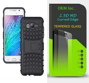 Snaptic Tough Hybrid Defender Kickstand Case With 2.5d Curved HD Tempered Glass For Samsung Galaxy J2 Prime
