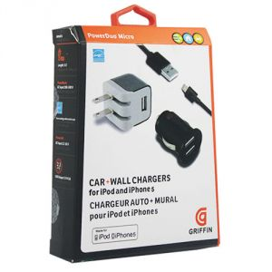 Griffin Mobile Phones, Tablets - Griffin PowerDuo Micro Apple iPad 4/Mini 2 USB Car   Wall Charger