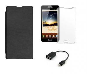 Mobile Accessory Combos - Nokia Lumia 1320 Flip Cover (Black) Plus Screen Guard Plus OTG Cable