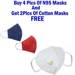 5 PCs Of N95 Protective Mask With Free 2 Pics Of Cotton Masks