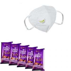 Chocolates - 5 Dairy Milk Silk and 2 V Shield n95 mask with respirator - ( Code - GFF08 )