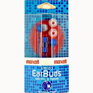 Maxell - Ie-mic In Ear Earphones With Mic, Blue