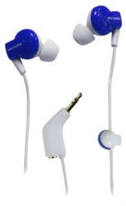 Memorex Ie350 In- Ear Earphones With Shirt Clip & Sharing Plug Blue