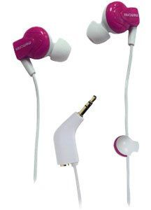 Memorex Ie350 In- Ear Earphones With Shirt Clip & Sharing Plug Pink