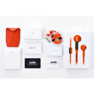 Sudio - Tva Orange In-ear Earphones W/ Button Mic & Remote For Smartphones