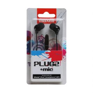 Maxell Plugz In Ear Earphone With Mic For Iphone,ipod,smartphone,mp3 White