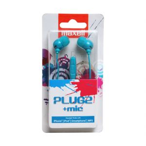 Maxell Plugz In Ear Earphone With Mic For Iphone,ipod,smartphone,mp3(blue)