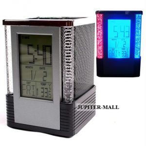 Digital Alarm Table Clock Pen Holder Stand P01