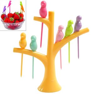 6pcs Cake Snack Dessert Fruit Forks & Tree Shape Holder Party Home Decor-01