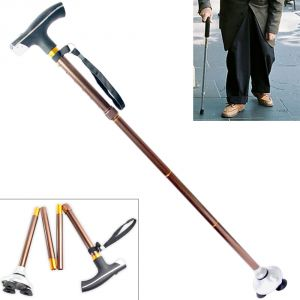 Aluminum Adjustable Folding Foldable Aluminum Walking Hiking Stick - 04