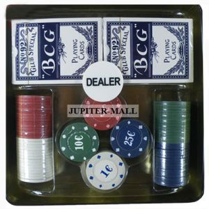 Playing card - 100pc CASINO POKER CHIP SET Case Dice Playing Cards