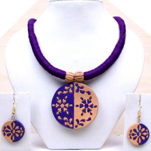 Fashion, Imitation Jewellery - Handicraft Burn Soil Antique Jewellery Necklace Earring Set Pendant -133