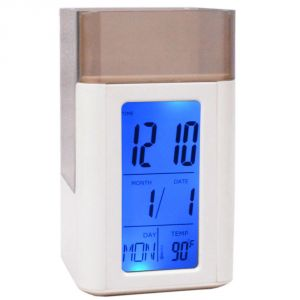 Digital Voice Control Back-light LCD Alarm Date Temperature Pen Holder Clock (code - Al Ck 327)
