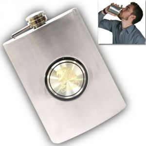 7oz Stainless Steel Drinks Hip Flask Screw Cap-46