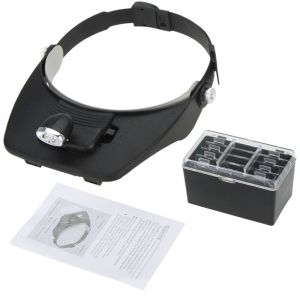 1.2x 1.8x 2.5x 3.5x Head 2led Jewelry Magnifier Magnifying Glass Microscope - 52