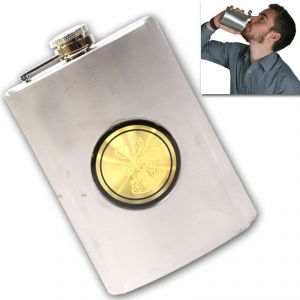 09 Oz STAINLESS STEEL Drinks Hip Pocket Wine Flask Screw Cap - 64