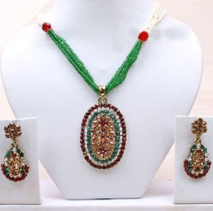 Necklaces (Imitation) - Gold Plated Diamond Stone Studded Jewellery Necklace Earring Set Pendant-68