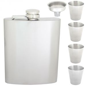08 Oz Stainless Steel Drinks Hip Wine Flask Screw Cap Cups & Funnel - 82