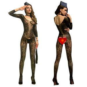 Black Lingerie Full Body Stockings Net Halter Fishnet Thigh-highs Socks Hose (code - Jm Bd St 15)