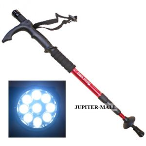 Adjustable 9 LED Anti Shock Trekking Hiking Walking Stick Pole W Flashlight