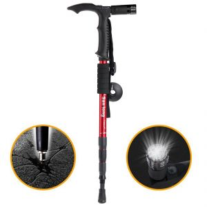 Adjustable 9 LED Anti Shock Trekking Hiking Walking Stick Pole With Flashlight (code - Jm Hk Pl 01)