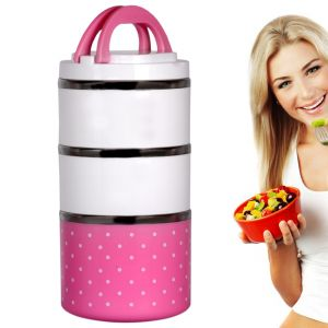 3 Container Insulated Hot Lunch Pack Tiffin Dabba Box Home Picnic (code - Jm Ln Bx 38)
