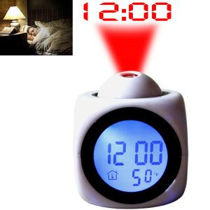 Talking Laser Alarm Table Clock Thermometer White
