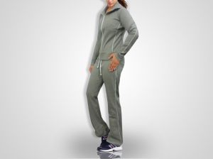 Women Grey Jogging, Gym Tracksuit Grey Color