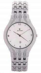 Titan Mens' Watches   Round Dial   Metal Belt   Analog - TITAN - 1406SCA MEN'S WATCH SILVER METAL WHITE DIAL