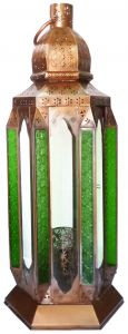 Tall Moroccan Style Glass Lantern