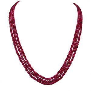 triveni,my pac,jharjhar,surat diamonds,avsar Gemstone Necklaces - Surat Diamond 158 cts 3 Line REAL Ruby Beads Necklace 158 cts Ruby Necklace
