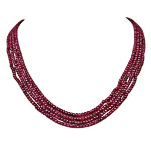 triveni,my pac,jharjhar,surat diamonds,avsar Gemstone Necklaces - Surat Diamond 213 cts 4 Line REAL Ruby Beads Necklace 213 cts Ruby Necklace