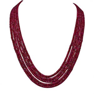 Surat Diamond 255 Cts 5 Line Real Ruby Beads Necklace 255 Cts Ruby Necklace