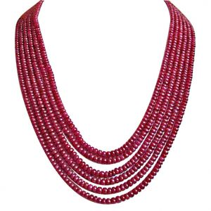 Gemstone Necklaces - Surat Diamond 310 cts 6 Line REAL Ruby Beads Necklace 310 cts Ruby Necklace