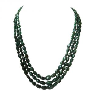 Surat Diamond 3 Line 327 Ct Real Natural Green Oval Emerald Necklace 327cts Oval Emr Neckalce