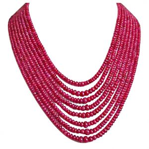 rcpc,soie,surat diamonds,port Gemstone Necklaces - Surat Diamond 365 cts 8 Line REAL Ruby Beads Necklace 365 cts Ruby Necklace