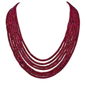 rcpc,soie,surat diamonds,port Gemstone Necklaces - Surat Diamond 463 cts - 7 Line Ruby Beads Necklace 463ctsRubyNeck