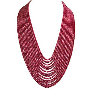 Gemstone Necklaces - Surat Diamond 624 cts 13 Line REAL Ruby Beads Necklace 624 cts Ruby Necklace